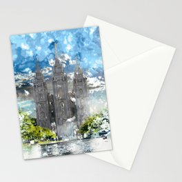 Salt Lake LDS Temple Watercolor Photo Stationery Cards