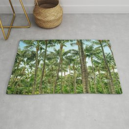 palm tree forest, coconut trees jungle background Rug