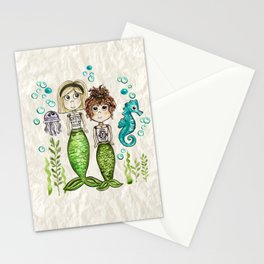 Mermaid Friends, Girl's Room Decor, Sisters, Illustration, Under the sea Stationery Cards