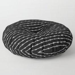 barbed wire stripe - black Floor Pillow