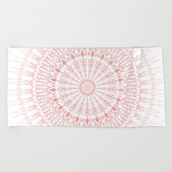 Rose Quartz Mandala Beach Towel