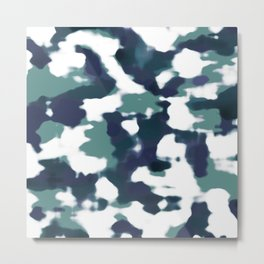 Abstract Camouflage: Blue & White Metal Print
