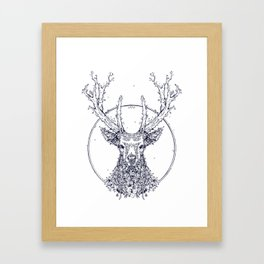 Flowers and Stag [Monochrome] Framed Art Print