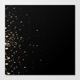 Black and Gold Confetti Brushstroke Watercolor Polka Dots Canvas Print