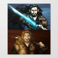 fili Canvas Prints featuring Thorin & Fili by wolfanita