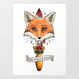 Fox & dagger tattoo style and pun Art Print