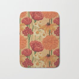 Kitschy Sunflower and Peony Bouquet in Autumn Palette Bath Mat