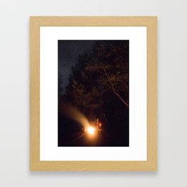 Night by campfire Framed Art Print