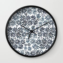 Indigo Flowers Wall Clock