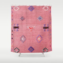 Pink Oriental Traditional Boho Moroccan Style Design Artwork Shower Curtain