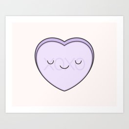 XOXO Candy Heart - Lilac Art Print