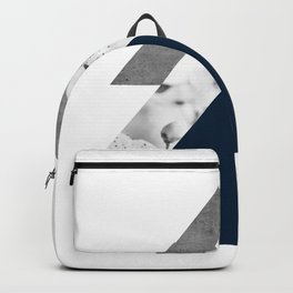 Blue grey monochrome blossom arrows Backpack