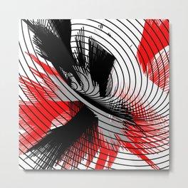 whirlwind abstract red white black grey digital geometric art Metal Print