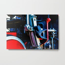 Vintage Driving Mechanical Gear Of A Steam Engine Locomotive Metal Print