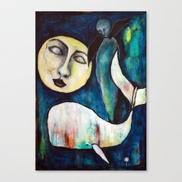 Whale & the Moon Canvas Print