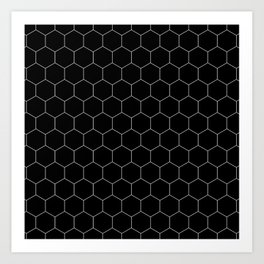 Simple Honeycomb Pattern - Black & White -Mix & Match with Simplicity of Life Kunstdrucke