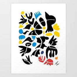 African Black Birds Abstract Art  Art Print