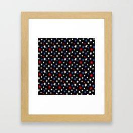 Bold Patriotic Stars In Red White and Blue on Black Framed Art Print