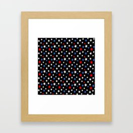 Bold Patriotic Stars In Red White and Blue on Black Framed Art Print