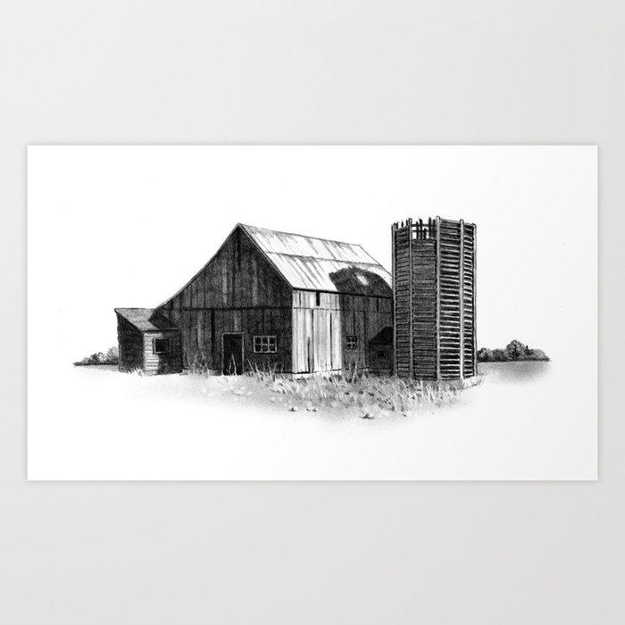 Old Barn And Silo Original Pencil Drawing Country Farm Art Print