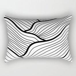 Abstract waves / black & white Rectangular Pillow