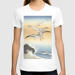 Japanese Seagull Woodblock Print by Ohara Koson T-shirt
