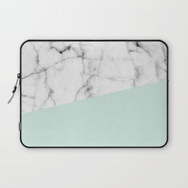 Real White marble Half pastel Mint Green Laptop Sleeve