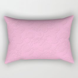 .Embossed roses on a pink background with decorative elements. Rectangular Pillow