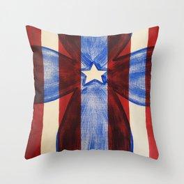 America Red White Blue Cross Throw Pillow