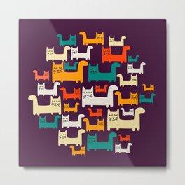City Of Kitties Pattern Metal Print