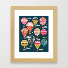 Hot Air Balloons - Retro, Vintage-inspired Print and Pattern by Andrea Lauren Framed Art Print