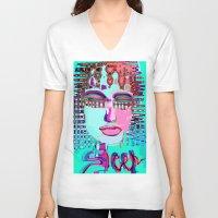 sleep V-neck T-shirts featuring sleep by sladja