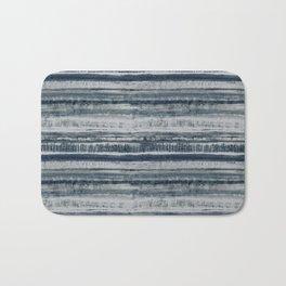 Expressive Indigo Watercolor Stripe Bath Mat