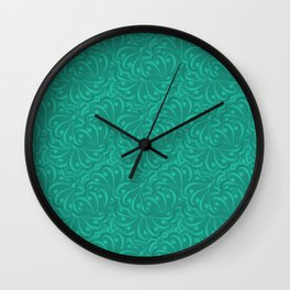 Dark turquoise abstract pattern . Wall Clock