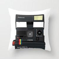 polaroid Throw Pillows featuring Polaroid by Chris Redford