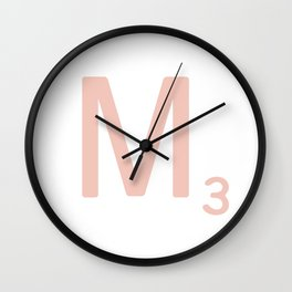 Pink Scrabble Letter M - Scrabble Tile Art and Accessories Wall Clock