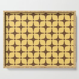 Mid Century Modern Star Pattern Brown and Yellow Serving Tray