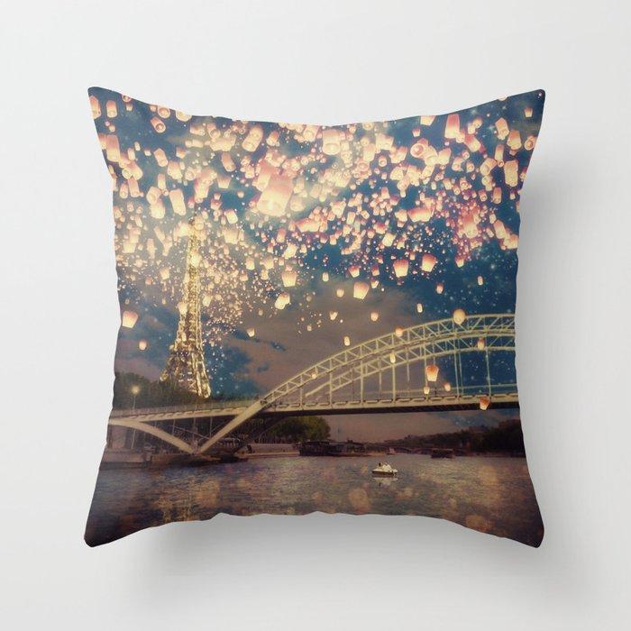 Love Wish Lanterns over Paris Throw Pillow