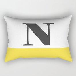 Monogram Letter N-Pantone-Buttercup Rectangular Pillow
