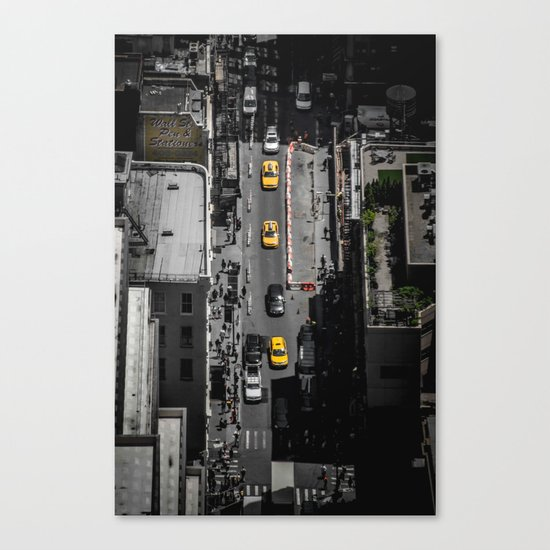 Yellow Cab from Above - Original #society6 exclusive Canvas Print