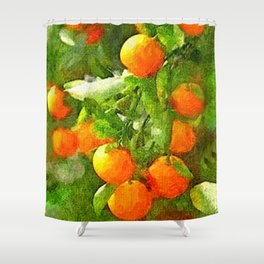 TROPICAL ORANGE TREE PAINTING Shower Curtain