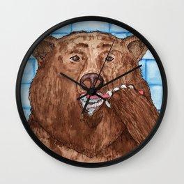 Bear Brushing Teeth Watercolor Illustration  Wall Clock