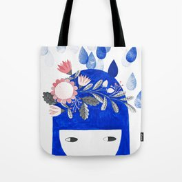blue girl with raindrops and floral watercolor Tote Bag