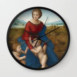 """Raffaello Sanzio da Urbino """"The Madonna of the meadow"""", circa 1506 Wall Clock"""