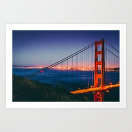 Blue Hour at Golden Gate Bridge (USA) Art Print