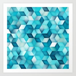 Blue Shades Gradient Rhombus Shape Grid Pattern. Abstract Geometric Print Art Print