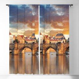 Historic Charles Bridge Prague Czechia Vitava River Europe At Romantic Evening Red Ultra HD Blackout Curtain