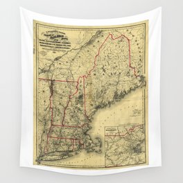 Map of Maine, New Hampshire, Vermont, Massachusetts, Rhode Island, Connecticut, Lower Canada (1860) Wall Tapestry