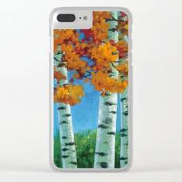 Poplars in autumn Clear iPhone Case