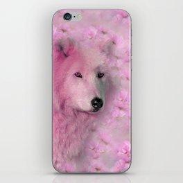PINK WOLF FLOWER SPARKLE iPhone Skin